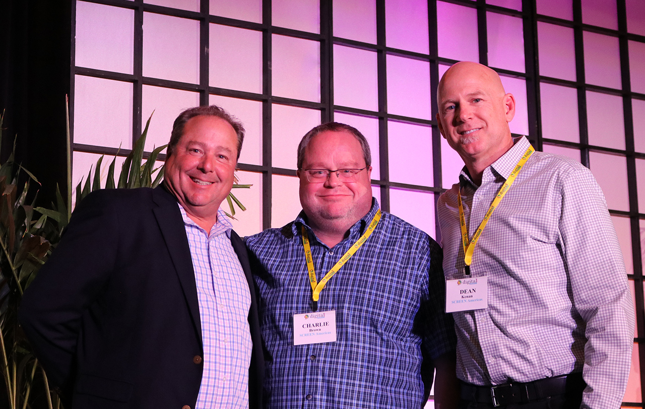 L-R:  Brian Ludwig, VP, Publisher/Brand Director, packagePRINTING, Charlie Brown, Labels and Packaging Solutions Manager, SCREEN Americas, Dean Kenan, Vice President Sales Western Region