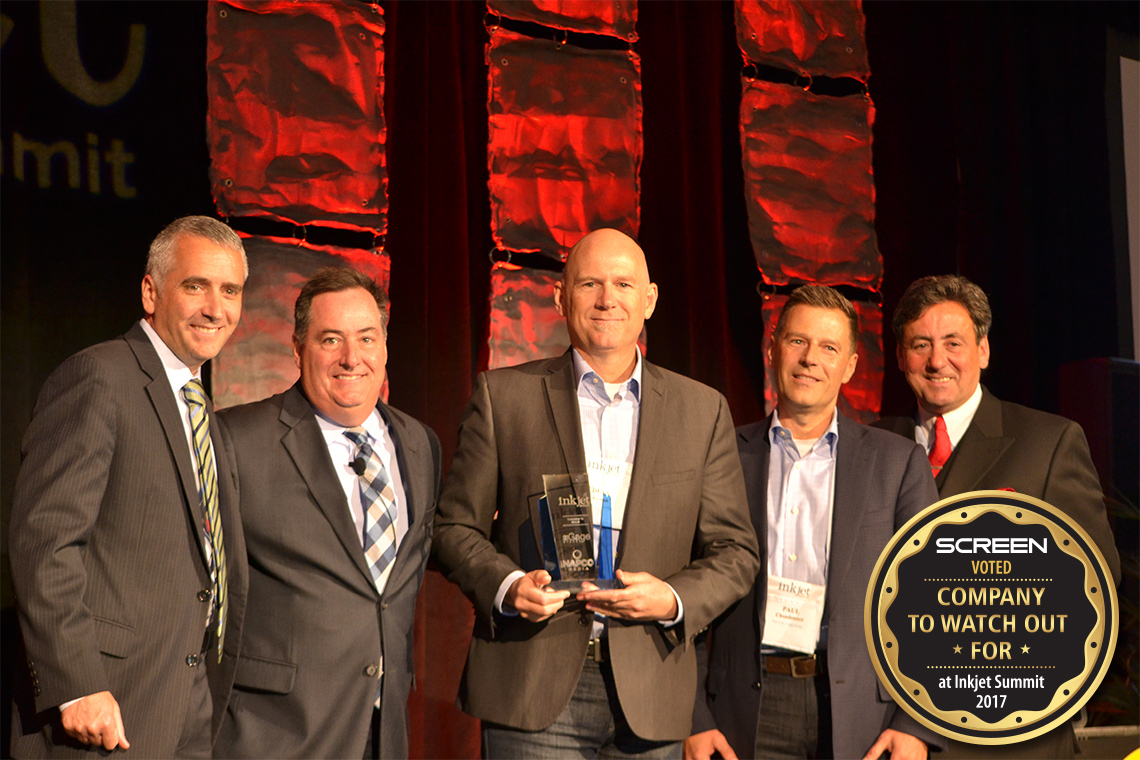 "Dean Kenan (center) and Paul Chandonnet (2nd from right) of SCREEN Americas, accept the ""Company to Watch Out For"" award from Inkjet Summit's David Pesko, Mark Subers and Phil McKay. Photo courtesy of NAPCO Media/nGage Events"